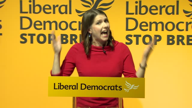 interior shots of jo swinson speaking after being elected the new leader of the liberal democrats on 22 july 2019 in london england - british liberal democratic party stock videos & royalty-free footage