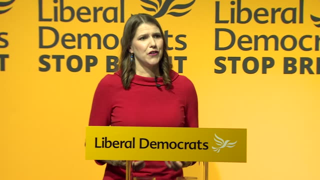 interior shots of jo swinson speaking after being elected the new leader of the liberal democrats on 22 july in london england - british liberal democratic party stock videos & royalty-free footage