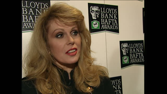 interior shots of joanna lumley speaking to reporters at the bafta after show party on april 23 1995 in london england - joanna lumley stock videos & royalty-free footage