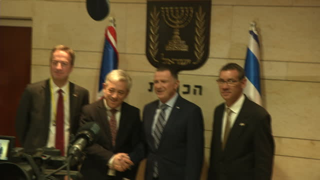 Interior shots of John Bercow and Knesset speaker Yuli Edelstein posing for a handshake in the Knesset on 13 February 2017 in Jerusalem Israel