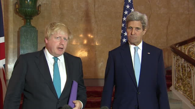 Interior shots of John Kerry US Secretary of State Boris Johnson UK Foreign Secretary speaking to the press about finding solutions to the conflicts...