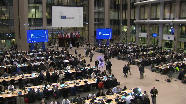 Interior shots of journalists working in the media centre in the new Europa Building headquarters of the EU on December 15 2016 in Brussels Belgium