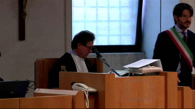 interior shots of judges arriving and taking seats in perugia courtroom during the meredith kercher murder trial on june 12, 2009 in perugia, italy. - perugia stock videos & royalty-free footage