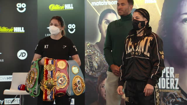 vídeos de stock e filmes b-roll de interior shots of katie taylor & miriam gutierrez's head to head press conference at the hilton hotel in wembley, london. this footage was taken on... - lightweight