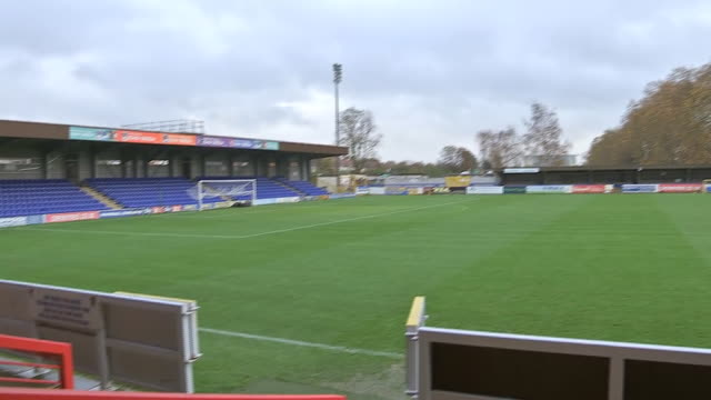 interior shots of kingsmeadow stadium on the 17th november 2015 in london, england - dirt track stock videos & royalty-free footage