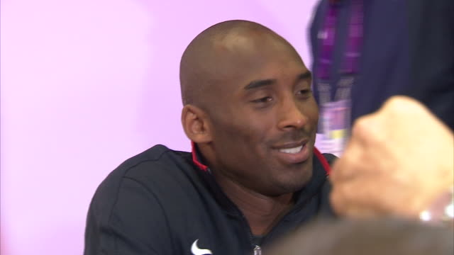 interior shots of kobe bryant during a press conference during the 2012 olympics on 27th july 2012 in london united kingdom - hitting stock videos & royalty-free footage