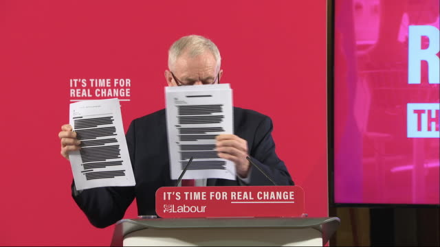 interior shots of labour leader, jeremy corbyn displaying documents claiming to prove that boris johnson intends to sell the nhs to american... - jeremy corbyn stock videos & royalty-free footage