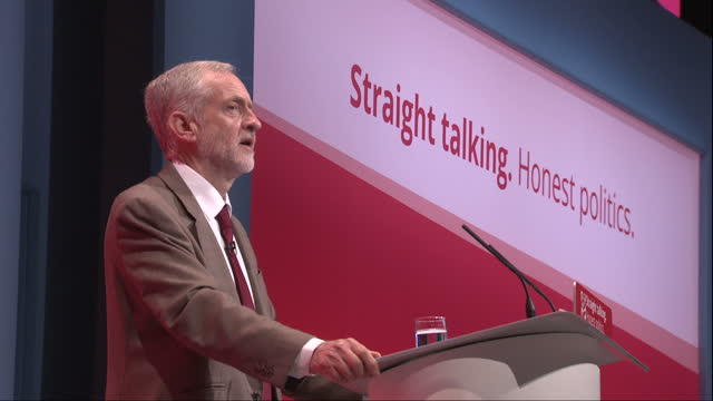 Interior shots of Labour leader Jeremy Corbyn making his inaugural conference speech as party leader saying that the Labour party's message is that...
