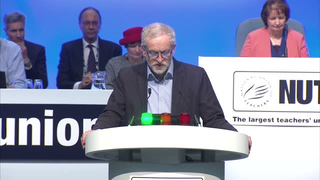 interior shots of labour leader jeremy corbyn speaking at the nut conference about his party's support for trade unions saying that his late mother... - educational subject stock videos and b-roll footage