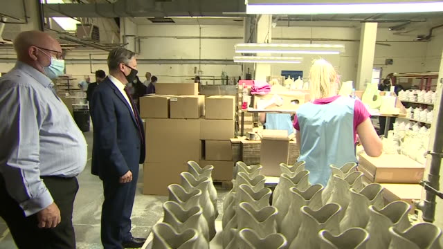 interior shots of labour leader sir keir starmer meeting managers and staff at a ceramics factory and looking at items of pottery on 5 august 2020 in... - keir starmer stock videos & royalty-free footage