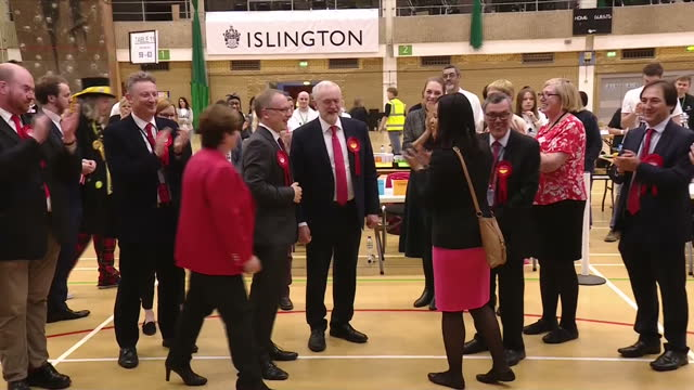 Interior shots of Labour party leader Jeremy Corbyn arriving at Islington leisure centre for the election results count and declaration and being...