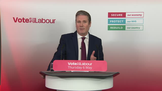 interior shots of labour party leader, keir starmer speaking at a press conference to launch a local election and reflects on the work other members... - 行方不明点の映像素材/bロール