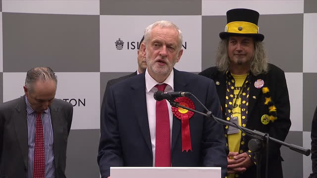 Interior shots of Labour party leader speaking after being returned as the Labour MP for Islington North This election as called in order for the...