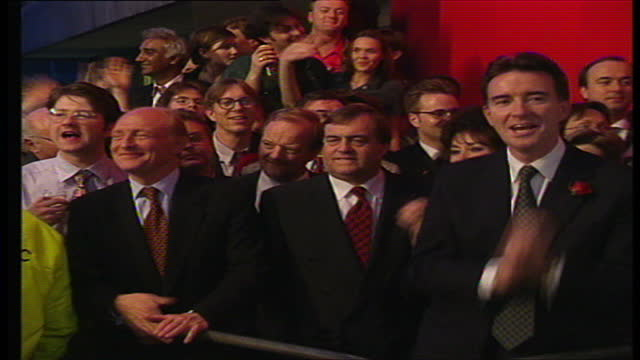 Interior shots of Labour party members dancing to DReam 'Things can only get better' including Peter Mandelson John Prescott with his wife Pauline...