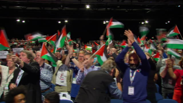 interior shots of labour supporters in audience during the party's national conference waving palestinian flags on 25 september 2018 in liverpool,... - palestinian stock videos & royalty-free footage