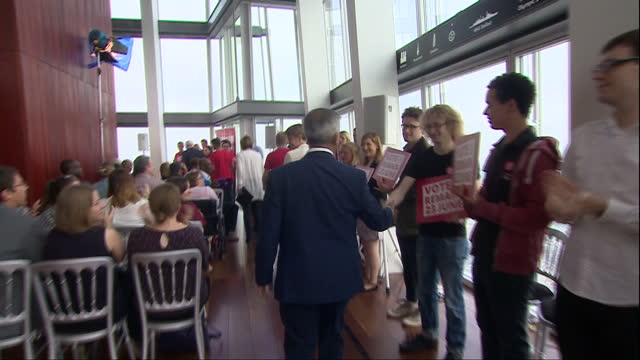 interior shots of labour vote remain campaigners alan johnson, harriet harman, yvette cooper and sadiq khan arriving at a campaign event at the shard... - referendum stock videos & royalty-free footage