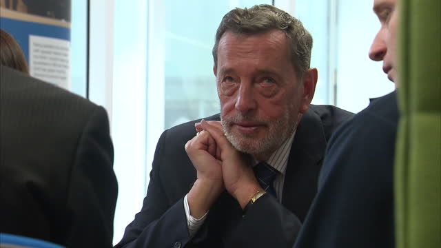 interior shots of labour's rachel reeves and david blunkett chatting with guests at the launch of the party's manifesto on disability on april 20,... - david blunkett stock videos & royalty-free footage