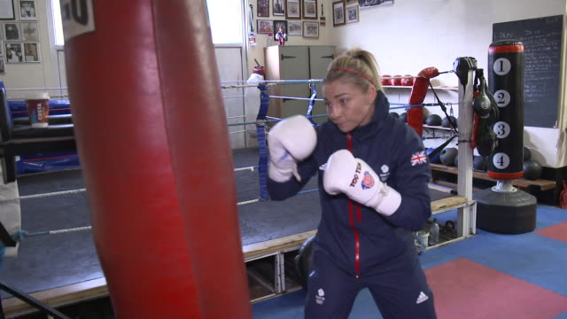 interior shots of lauren price part of team gb for the tokyo 2020 summer olympics at training punching bag shot on january 13th 2020 - punch bag stock videos & royalty-free footage