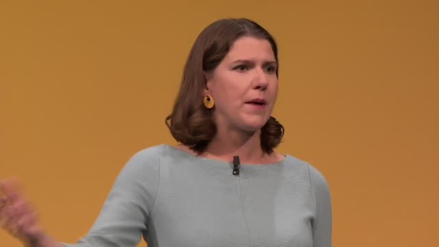 interior shots of leader of the liberal democrats jo swinson giving her speech at the party's conference speaking about how uk prime minister is... - prime minister of the united kingdom stock videos and b-roll footage