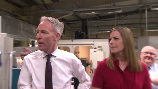 interior shots of leader of the scottish labour party jim murphy and labour candidate for glenrothes melanie ward visiting sheet metal workshop on... - sheet metal点の映像素材/bロール