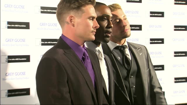 interior shots of lee ryan simon webbe and duncan james from boyband blue arriving and posing for photographs at grey goose winter ball including... - boy band stock videos & royalty-free footage