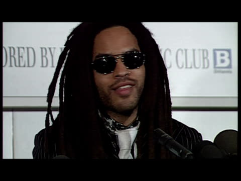 interior shots of lenny kravitz speaking at a press conference for the 1993 brit awards sky news lenny kravitz archive on february 16 1993 in london... - ブリット・アワード点の映像素材/bロール