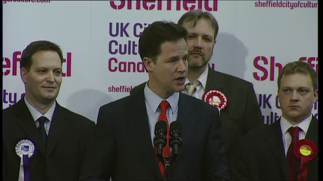 interior shots of liberal democrat leader nick clegg mp making a speech upon winning the seat of sheffield hallam on may 07, 2010 in sheffield,... - british liberal democratic party stock videos & royalty-free footage