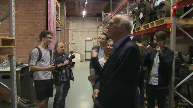 interior shots of liberal democrat leader sir vince cable visiting the manchester science and industry museum including shots of a dalek from the... - doctor who stock videos & royalty-free footage