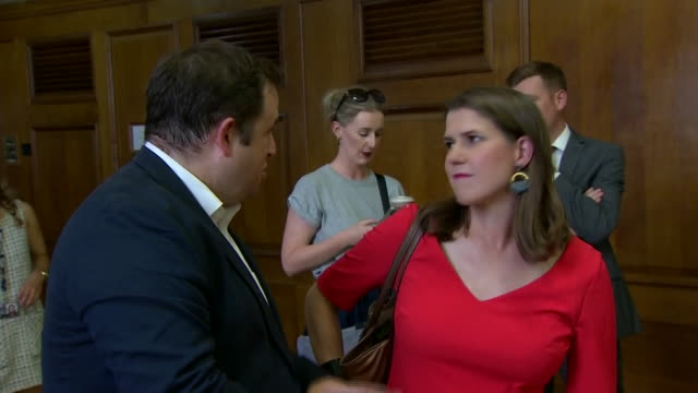 interior shots of liberal democrat mp jo swinson talking to reporter at a church house meeting on talks aimed at preventing a no-deal brexit by... - british liberal democratic party stock videos & royalty-free footage