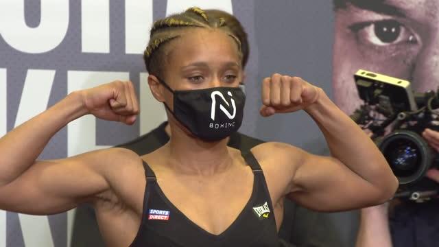 vídeos de stock e filmes b-roll de interior shots of lightweight boxer tasha jonas at the weigh-in ahead of her fight with katie taylor. - lightweight