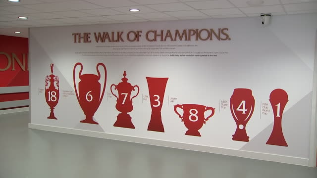 interior shots of liverpool's 'walk of champions' wall in anfield - cup stock videos & royalty-free footage
