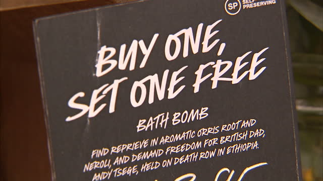 Interior shots of Lush bath bombs on sale in a Lush shop calling for the release of jailed Briton on death row in Ethiopia Andy Tsege and 'Smell of...