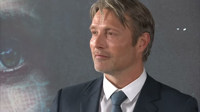 Interior shots of Mads Mikkelsen actor posing on the red carpet at the Rogue One A Star Wars Story premiere at BFI IMAX on December 13 2016 in London...