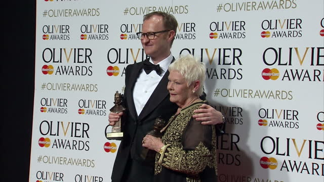 interior shots of mark gatiss winner of the olivier award for best actor in a supporting role and dame judi dench winner of the best actress in a... - best supporting actor stock videos & royalty-free footage