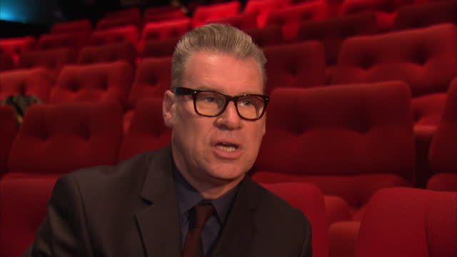 interior shots of mark kermode, film critic giving an interview about bafta nominees and dame judi dench. mark kermode interview on bafta nominees on... - マーク カルモード点の映像素材/bロール