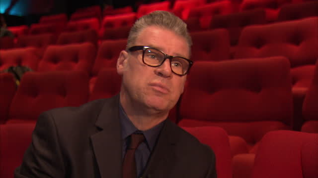 interior shots of mark kermode giving an interview about best actor nominees for bafta awards. mark kermode interview on bafta actor nominees on... - マーク カルモード点の映像素材/bロール
