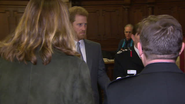 interior shots of mary berry and prince harry at westminster cathedral for the london fire brigade carol service, and meeting with london fire... - westminster cathedral stock videos & royalty-free footage
