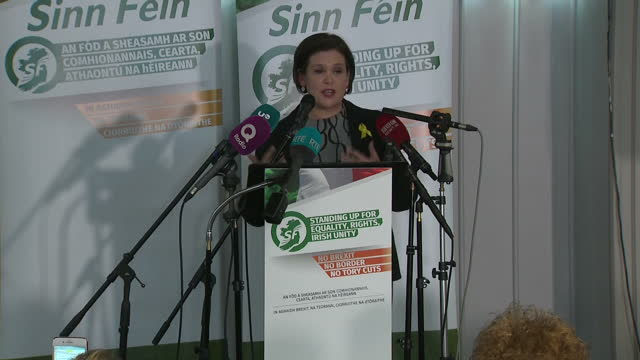 Interior shots of Mary Lou McDonald concluding her speech at a special Sinn Fein conference after being confirmed as the only candidate nominated to...