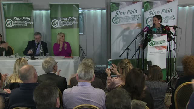 Interior shots of Mary Lou McDonald giving a speech at a news conference after being confirmed as the only candidate nominated to replace Gerry Adams...