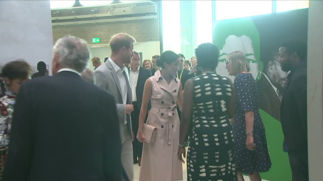Interior shots of Meghan Duchess of Sussex and Prince Harry Duke of Sussex visiting the Nelson Mandela Centenary Exhibition at Southbank Centre on...