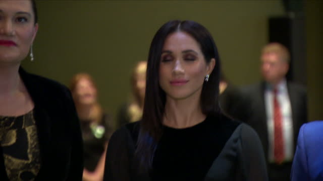 interior shots of meghan duchess of sussex listening to a speech while on a tour of the oceania exhibition at the royal academy of arts on 26... - meghan duchess of sussex stock videos & royalty-free footage