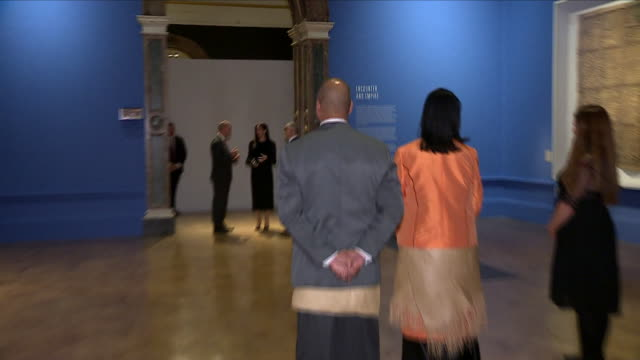 interior shots of meghan, duchess of sussex, touring the oceania exhibition at the royal academy on 26 september 2018 in london, united kingdom - oceania stock videos & royalty-free footage