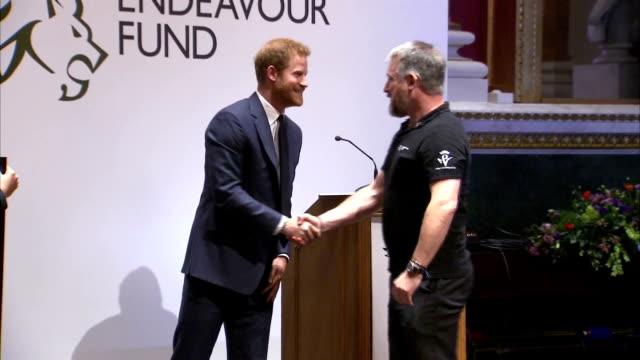 Interior shots of Meghan Markle and Prince Harry presenting awards during the Endeavour Awards ceremony at Goldsmiths' Hall >> on February 01 2018 in...