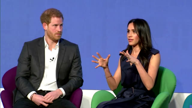 interior shots of meghan markle and prince harry speaking during the first annual royal foundation forum>> on february 28 2018 in london england - königshaus stock-videos und b-roll-filmmaterial