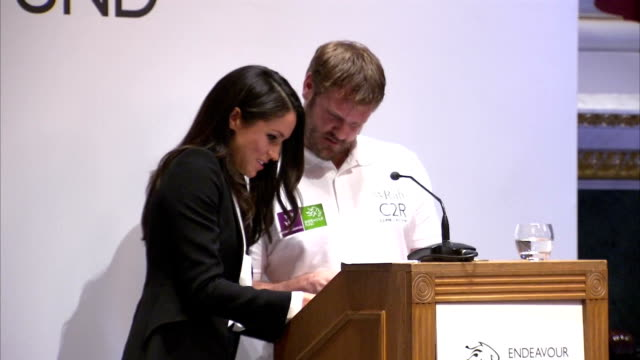 Interior shots of Meghan Markle assisting previous Endeavour Award winner Neil Heritage with a mixup as he introduces the Celebrating Excellence...