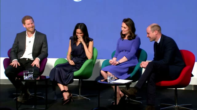 interior shots of meghan markle prince harry and the duke and duchess of cambridge speaking during the first annual royal foundation forum>> on... - prince harry stock videos & royalty-free footage