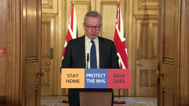 interior shots of michael gove mp chairing downing street's daily press briefing on coronavirus after the prime minister boris johnson tested... - routine stock videos & royalty-free footage
