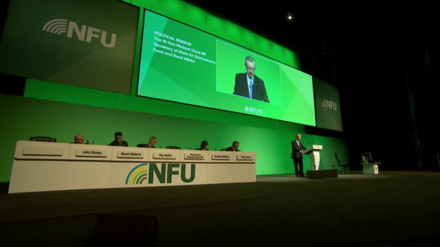 interior shots of michael gove speaking at national farmers union annual conference on 19 february 2019 in birmingham united kingdom - midlands occidentali video stock e b–roll