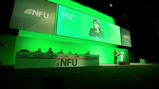 interior shots of minette batters nfu president speaking at the national farmers union annual conference on 19 february 2019 in birmingham united... - midlands occidentali video stock e b–roll