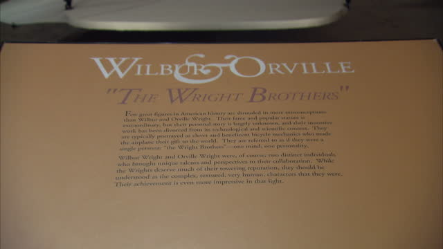 Interior shots of model of the Wright brothers' plane 'The Wright Flyer' a museum plaque on Wilbur Orville Wright on December 1 2013 in Smithsonian...